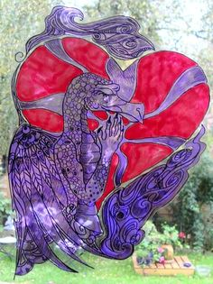 WICOART STICKER WINDOW COLOR CLING FAUX STAINED GLASS DRAGON IN LOVE AMOUR COEUR