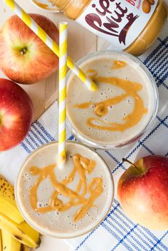 Apple Peanut Butter Smoothie - an all time favorite snack in a grab 'n go! Great for a fall breakfast!