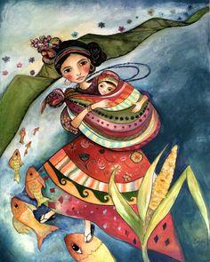 claudia tremblay Mayan folktales 2 mother and child Mother Art, Mother And Child, Art And Illustration, Illustrations, Claudia Tremblay, Art Amour, Crown Art, Sisters Art, Art Original
