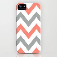 Coral & Gray Chevron iPhone Case
