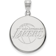 10K White Gold NBA Los Angeles Lakers Large Disc Pendant by LogoArt ($387) ❤ liked on Polyvore featuring jewelry, pendants, logoart, disc pendant, white gold disc pendant, pendant jewelry and charm pendants