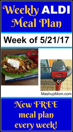 Here's youreasy weekly ALDI meal plan for the week of 5/21/17: Pick up everything on the shopping list below, then start cooking on Sunday. *** Subscribe to the weekly ALDI meal plans here *** Hope you find these free ALDI meal plans useful! Things to know about these ALDI meal plans A few notes before we get started: I try not to repeat main dish recipes more often than once a month, but you will see favorite easy recipes come  {Read More} Cheap Meals, Frugal Meals, Easy Meals, Freezer Meals, Cheap Food, Healthy Meals, Aldi Meal Plan, Meal Prep, Family Meal Planning