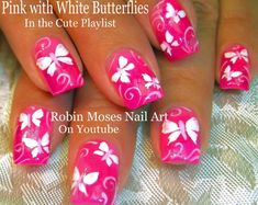 Neon Pink With White Butterflies! #neon #rainbow #butterfly #butterflies #DIYnails #nailart #summer #mani #trendy #howto #doityourself #diy #nails #nails2015 #nail #art #designs #tutorial #howtonails #nailsDIY #nailartdiy #diynailart