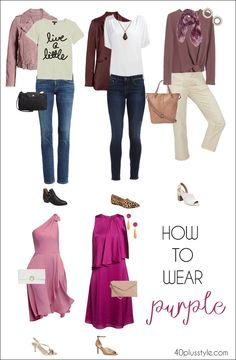 50 Shades of Purple: How to wear purple outfits in every shade from lilac to violet Purple Blazers, Purple Jeans, Purple Sweater, Purple Outfits, Purple Dress, Orange Dress, Black Loafers Outfit, White Clutch Bags, Wearing Purple