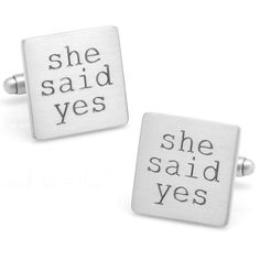 """Wedding Series """"She Said Yes"""" Cuff Links ($55) ❤ liked on Polyvore featuring men's fashion, men's accessories, cuff links, silver and mens wedding accessories"""