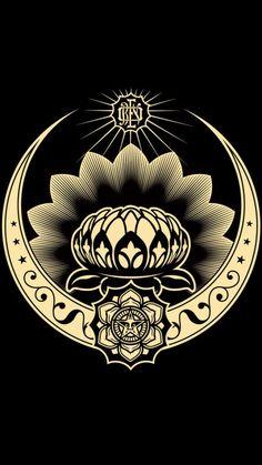 Lotus Ornament Red 2008 by Shepard Fairey - Limited Edition Print Yarn Bombing, Brainstorm, Obey Wallpaper, Iphone Wallpaper, Shepard Fairey Art, Omg Posters, Graffiti, Obey Art, Bokashi