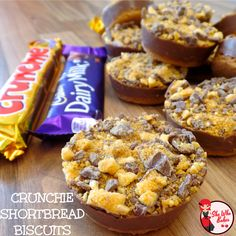 Crunchie Shortbread Biscuits - She Who Bakes Shortbread Biscuits, Shortbread Recipes, Biscuit Cookies, Biscuit Recipe, Cake Cookies, Tray Bake Recipes, Cookie Recipes, Snack Recipes, Eggless Recipes