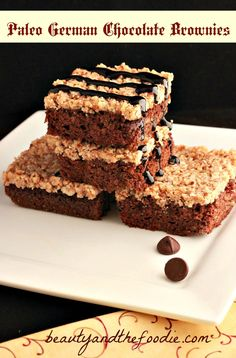 Paleo German Chocolate Brownies. A paleo german chocolate brownie with a brownie layer, a coconut caramel pecan layer, and topped with a chocolate sauce drizzle. Includes a low carb version too.