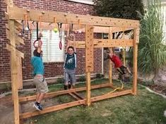 Ninja Warrior training course I made for the kids ( and myself) in our back yard. It has a peg board circuit, ring toss peg circuit, monkey bars, gymn. Backyard Gym, Backyard Playset, Backyard Obstacle Course, Kids Obstacle Course, Backyard Playground, Backyard For Kids, Diy For Kids, Backyard Ideas, Backyard Seating