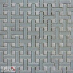 Glass Tiles :: Ice Clear Basketweave Stone&Glass - Korel's Design Tile Store