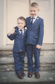Little boys in blue suits- adorable!