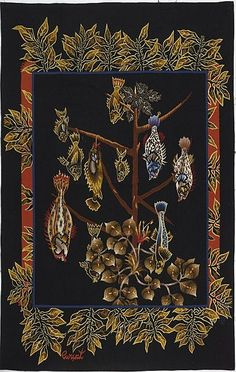 """exquisite, festive coastal home decor & a treasure to be sure...; early to mid 20th c.  """"Fruits De Mer""""... French Aubusson Wool Tapestry,  signed by;Jean LURCAT (1892-1966)"""