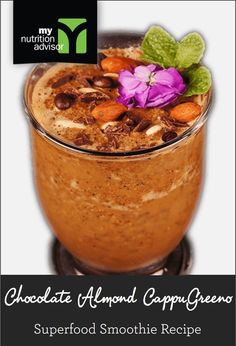 Chocolate Almond CappuGreeno - Superfood Smoothie Recipe with Coffee Beans! Our most popular CappuGreeno recipe. Contains over 11 different superfoods in the Ancient Chocolate Superfood Mix we are using. Click on the image for the recipe. #mnasmoothie
