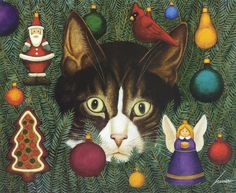 Christmas cat by Lowell Herrero