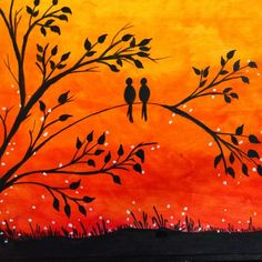 Beautiful Easy Landscape Painting Ideas for Beginners - Sunrise Painti – HomeArtPainting.com Sunset Painting Easy, Love Birds Painting, Sunrise Painting, Lake Painting, Hand Painting Art, Abstract Flower Art, Abstract Canvas Wall Art, Large Canvas Art, Large Art