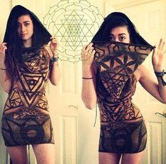 Secret Geometry Trinity Dress - One Of A Kind - Burning Man Mini Dress on Etsy, $130.00