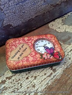 Vintage style gift tin with a working clock by Pennybright Studios