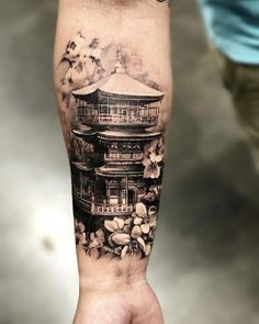 Japanese temple with cherry blossoms pic done with Japanischer Tempel mit Kirschblüten pic erfolgt mit @ pro_t_ink… Tatuajes Irezumi, Irezumi Tattoos, Leg Tattoos, Body Art Tattoos, Tattoos For Guys, Japanese Temple Tattoo, Japanese Tattoo Art, Japanese Tattoo Designs, Japanese Sleeve Tattoos