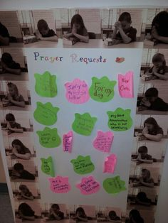 Classroom prayer request board.it's an opportunity for students to anonymously pray for those things heavy on their hearts. The pictures are actually the students praying in black and white.:)