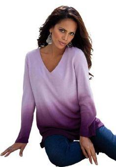 Denim 24/7 Plus Size Pullover V-Neck Ombre (Dark Plum,2X) Denim 24/7. $37.49