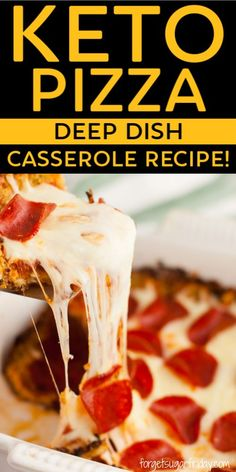 YUM this easy keto casserole is SO good and is perfect for your next keto dinner! A kid-friendly keto recipe that the whole family will love and an awesome gluten-free pizza and low carb pizza. Made with a keto cauliflower crust but you'll never know! Pizza Casserole Low Carb, Low Carb Pizza, Breakfast Casserole, Casserole Recipes, Breakfast Recipes, Breakfast Gravy, Diabetic Breakfast, Pizza Pizza, Low Carb Diet