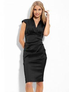 (FITS019876 )2012 Style Sheath / Column V-neck  Ruffles  Sleeveless Knee-length  Elastic Woven Satin Little  Black Dresses