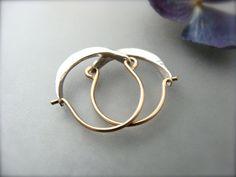 mini minimalist ... 14k gold filled hoops by sirenjewels on Etsy, $34.00