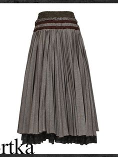 heavyweight embroidered cotton pleat maxi skirt