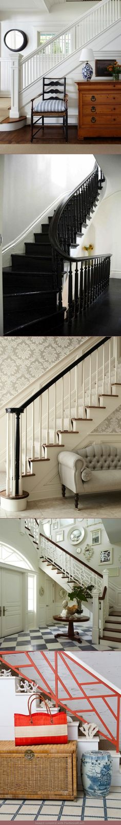Tobi's Entry. Stair Bannister color options: 1) crisp white stair bannister 2) dramatic all black bannister 3) combination of black handrail but white spindles 4) White with a stained handrail 5) painting part or all of the bannister a color