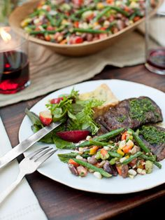 Recipe: Grilled Skirt Steak With Red Wine Chimichurri Read more: Outdoor Dinner Party - Ted Allen Summer Dinner Party Recipes - Country Living