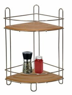 """2 Tiers Corner Rack W/bamboo Trays by GinsonWare. $14.99. This unique 2 tiers corner rack is constructed by heavy duty chrom finished wire and natural bamboo shelves.. Product Features: 1) This unique 2 tiers corner rack is constructed by heavy duty chrom finished wire and natural bamboo shelves. 2) Effectively organiz and add more storage space for the corner of bathroom,kitchen or any other rooms. 3) Size: 9.25"""" W x 4.13"""" D x 21.50"""" H Storage, Home Kitchens, Storage Spaces, Bamboo Shelf, Kitchen Storage Organization, Kitchen Dining, Home Decor, Dining Storage, Kitchen Storage"""