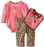 Calvin Klein Baby-Girls Newborn Bodysuit With Animal Print Pants And Bib 60% Cotton/40% Polyester Machine Wash Bodysuit Pants