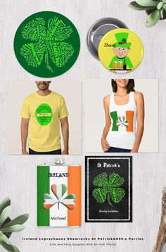 The emerald isle of Ireland renowned for its Guinness, lucky shamrocks, St Patrick, leprechauns and pots of gold at the end of a rainbow. Here is a collection of Irish themed products based on these things and the colors of Ireland's national flag, green, white and orange. So whether your having a St Patrick's Day (commonly known as Paddy's Day) celebration party or your looking for a special gift for a fellow Irish man or woman there is plenty of choice here, favor stickers, par...