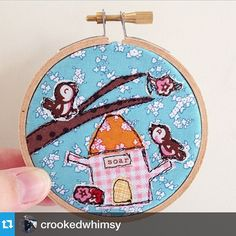 Lovely hoop art featuring Milk, Sugar & Flower fabric designed by Elea Lutz for Penny Rose Fabrics