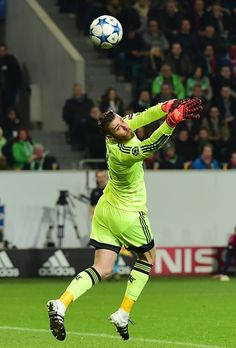 Manchester United's Spanish goalkeeper David de Gea in action during the UEFA Champions League Group B secondleg football match VfL Wolfsburg vs...