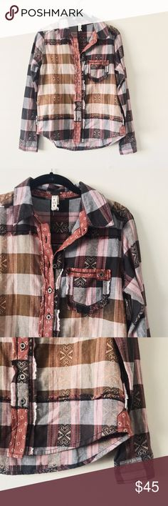 Free People Plaid Button Down Blouse • brand: free people  • condition: worn twice, like new  • size: xs  • description: ombre plaid button down blouse, can fit up to a small  • bundle to save 💵! no trades/holds/try-ons. will try to answer all questions asap. no price negotiations in comments.  ✨happy shopping!✨ Free People Tops Button Down Shirts