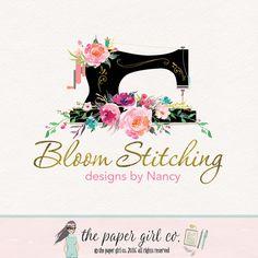 sewing machine logo sewing logo fabric shop logo by ThePaperGirlCo