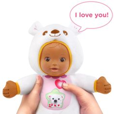 Press the doll's tummy and your little one will hear three songs about bears and a mini story. Interactive Baby Dolls, Tweety, Bear, My Love, Children, Mini, Young Children, Boys, Kids
