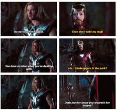 "The Avengers. Shakespeare in the park..""Doth mother know you weareth her drapes?"""