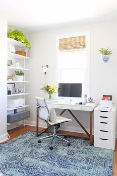 An interior designer's cozy, bright, and modern home office. Get the look by shopping the product links on the blog!