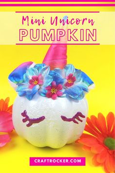 Stop! Don't plan your next trip to the Dollar Tree without adding the materials for this mini unicorn pumpkin DIY to your list! #dollarstorepumpkin #nocarveidea #craftrocker