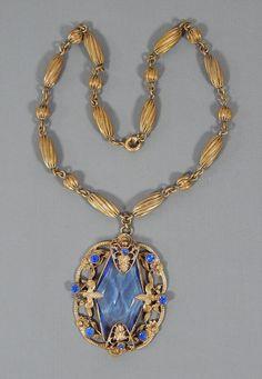Vintage Art Nouveau Deco Fleur De Lis Blue Glass & Rhinestone Pendant Necklace