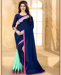 17713facf29b7 Sea Blue printed party wear georgette sari Printed with double shades and  embroidery work on lace border Comes with a matching Unstitched blouse