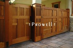 Signature Driveway Gate Designs by Prowell Woodworks Wooden Gate Designs, Wooden Gates, Garden Gates And Fencing, Yard Fencing, Fences, Craftsman Style Interiors, Craftsman Exterior, Craftsman Houses, Gate Post