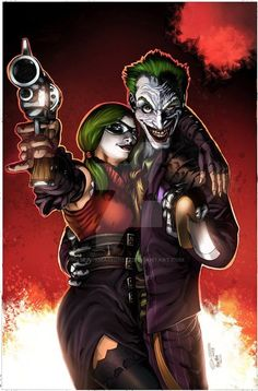 Colored version of Harley Quinn and the Joker by blackmachine23