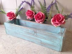 A really pretty window box in pale Aqua blue . The window box has been handcrafted from solid pine . I use scots pine as you get a really dense grain