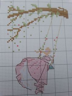 0 point de croix silhouette fille sur balancoire - cross stitch silhouette of a girl on a swing Just Cross Stitch, Cross Stitch Baby, Cross Stitch Flowers, Cross Stitch Charts, Cross Stitch Designs, Cross Stitch Patterns, Cross Stitch Angels, Cross Stitching, Cross Stitch Embroidery