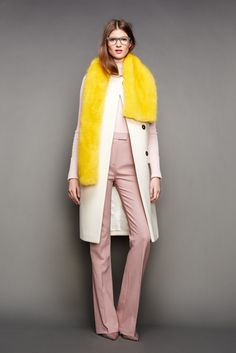 30 Little Style Lessons To Learn From J.Crew #refinery29  http://www.refinery29.com/2015/02/82440/jcrew-fall-ny-fashion-week-2015#slide-5  A stole looks better when it's a little off-center.
