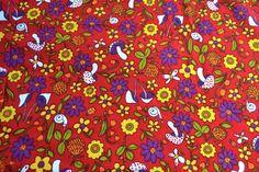 Vintage Fabric Mod Mushroom Hawaiian Crepe 45 x by pumpkintruck Vintage Fabrics, Vintage Paper, Retro Print, Red Dots, Craft Items, Hawaiian, Print Patterns, Stuffed Mushrooms, Cotton Fabric