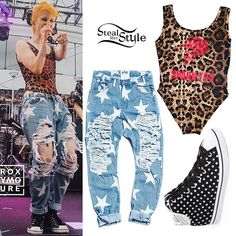 Hayley Williams performed aboard the Parahoy! cruise on Saturday wearing the O'Mighty Spank You Leopard Bodysuit ($25.21), One Teaspoon Le Punk Star-Print Distressed Saints Boyfriend Jeans ($158.00), and Adidas Star High Top Sneakers (sold out). Get the look for less with imitation jeans from AliExpress ($31.94).